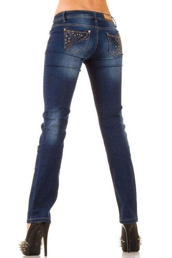 PANTS JEAN GOLD DECORATION STRASS BLUE SWJ1307