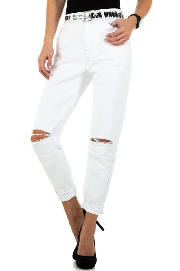 JEAN PANTS HIGH CROTCH CUTOUTS WHITE FSWD7692