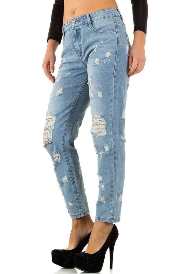 παντελόνι mom τζιν ψηλό καβάλο σκισίματα ξεβαμμένο ανοιχτό μπλε.