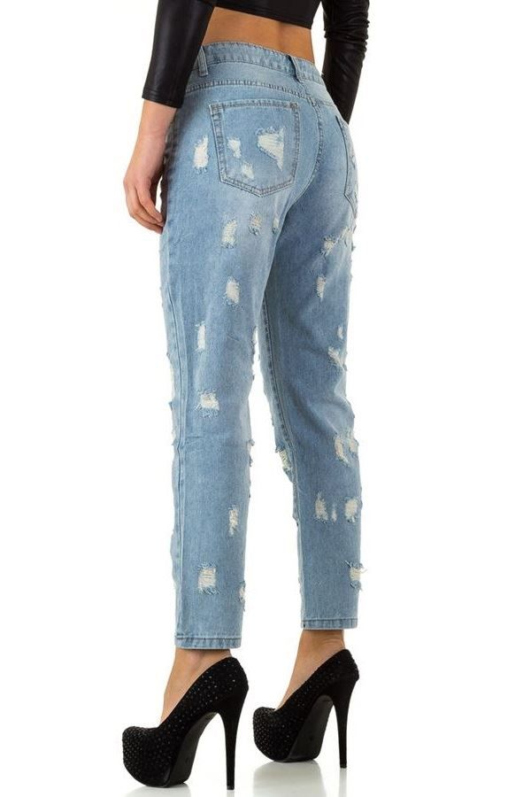 JEAN PANTS HIGH CROTCH CUTOUTS FADED LIGHT BLUE FSWP07111
