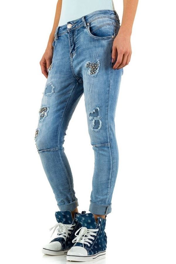 παντελόνι τζιν διακόσμηση σκισίματα ξεβαμμένο μπλε.