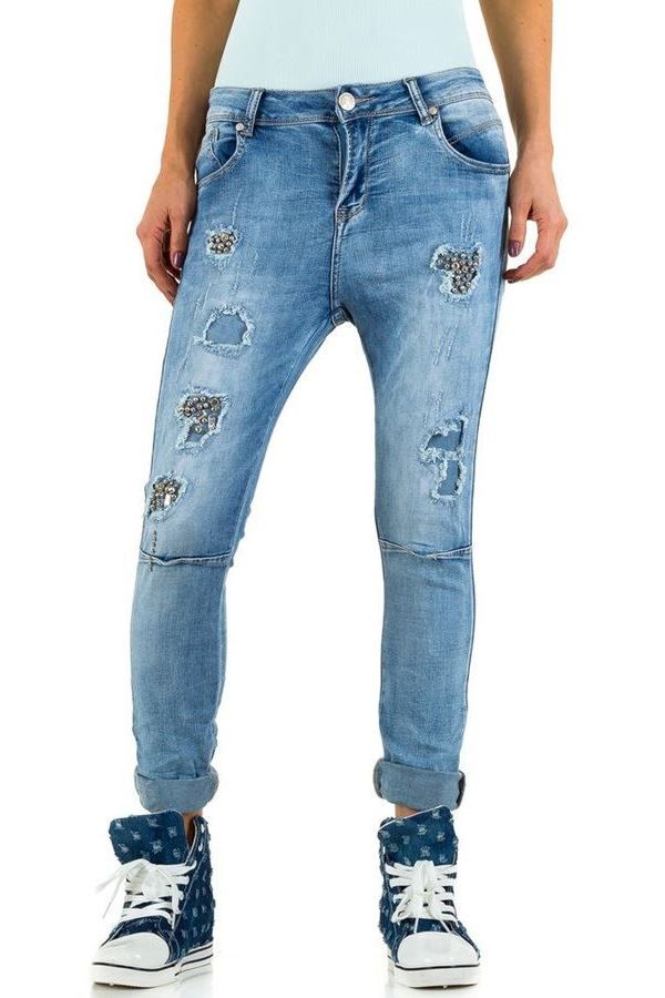 JEAN PANTS DECORATION CUTOUTS FADED BLUE FSWC93031