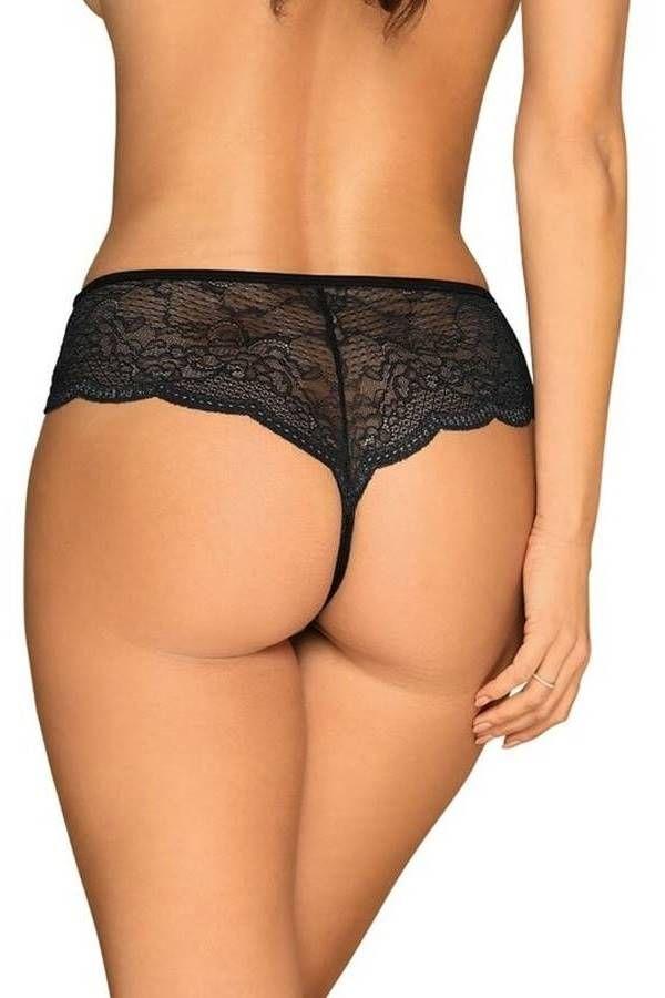 Panties Lingerie Pearls Lace Black DRED229111