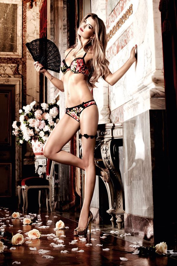 panty σλιπ σατέν δαντέλα floral μαύρο