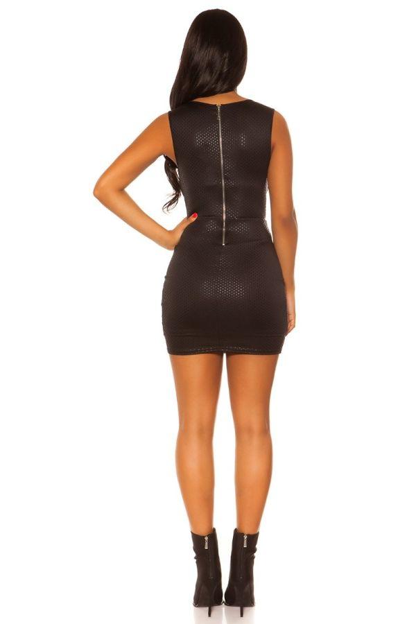 φόρεμα club αμάνικο γκλιτερ μαύρο.