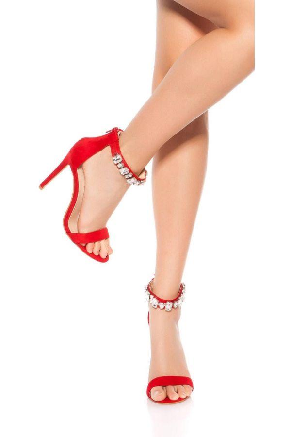 Sandals Evening Silver Rhinestones Red ISD950812