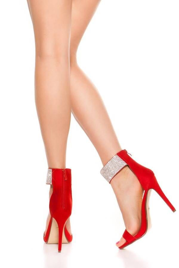 Sandals Evening Silver Strass Red ISDP63821