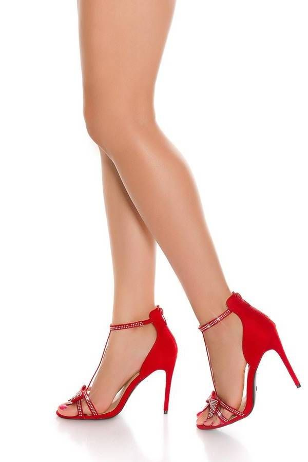 Sandals Evening Impressing Strass Red ISDS200013