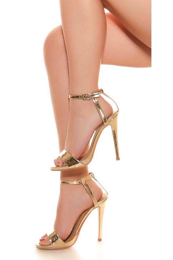 sandals evening classic patent gold.