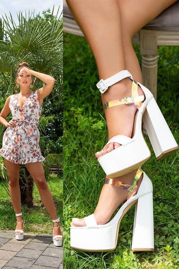 Sandals High Heels Evening Straps White ISDH92121854