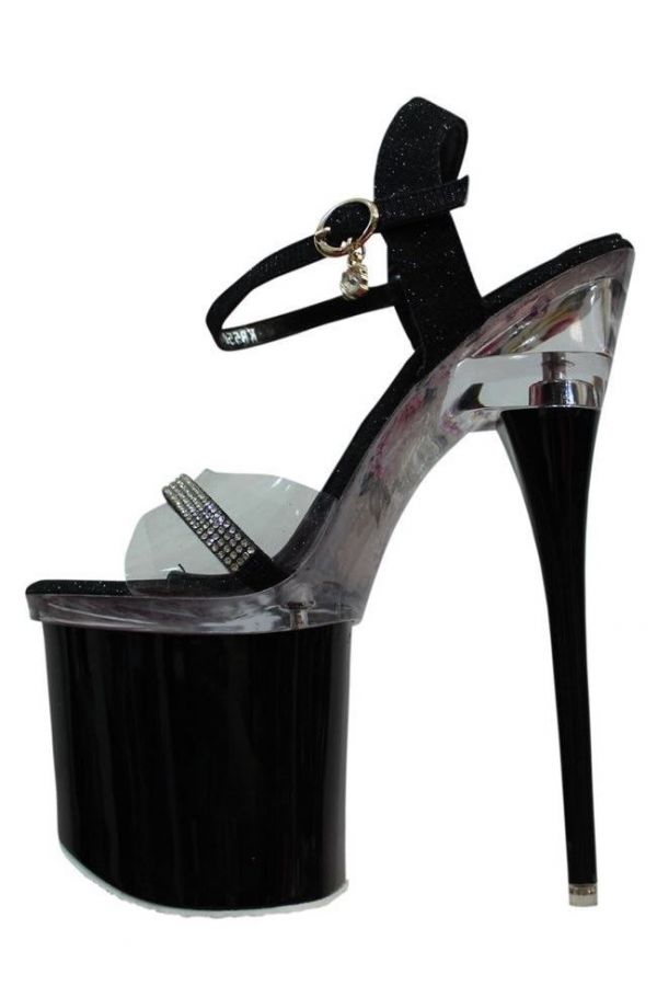 SANDALS SEXY HIGH HEELS STRASS GLITTER BLACK PARSB55015