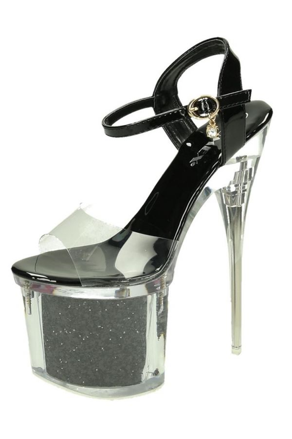 SANDALS SEXY HIGH HEELS GLITTER PATENT BLACK PARSB55001