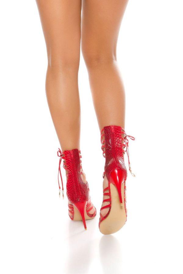 formal red high sandals straps croco detail