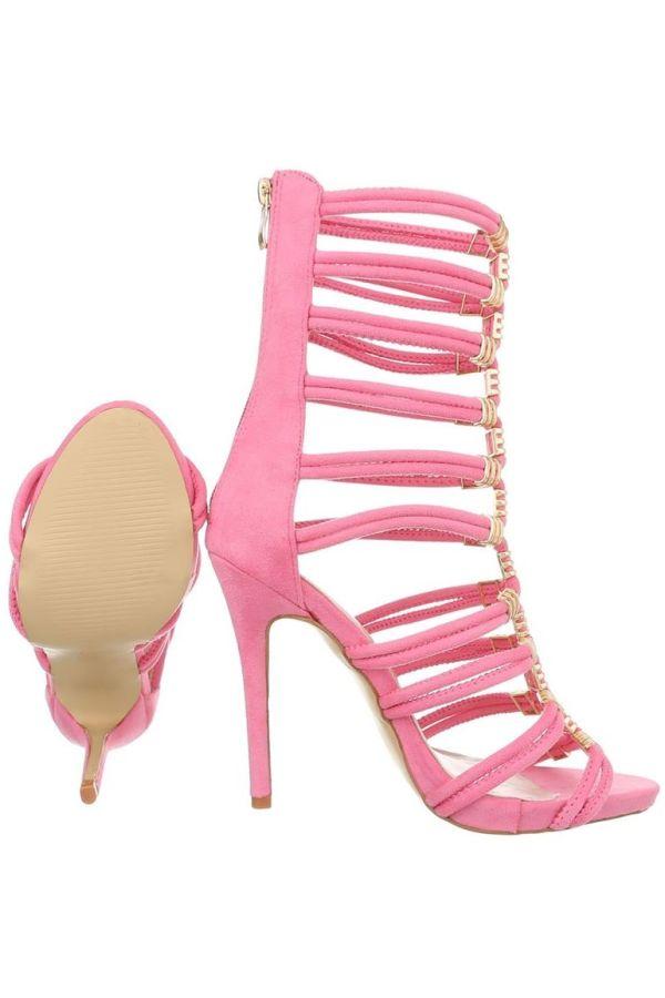πέδιλα λουριά ψηλό τακούνι διακόσμηση ροζ.
