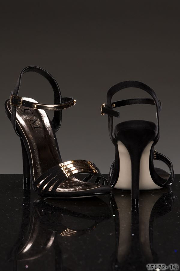black formal sandal with gold decoration