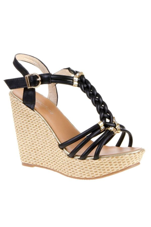 SANDAL PLATFORM GOLD DECORATION BLACK SW1193