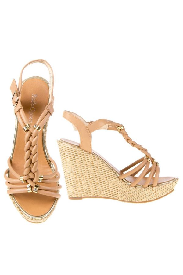 SANDAL PLATFORM GOLD DECORATION BEIGE SW1193
