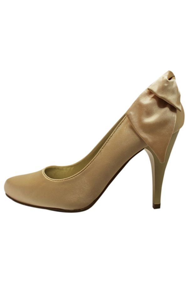 classic satin pump decorated with bow back gold