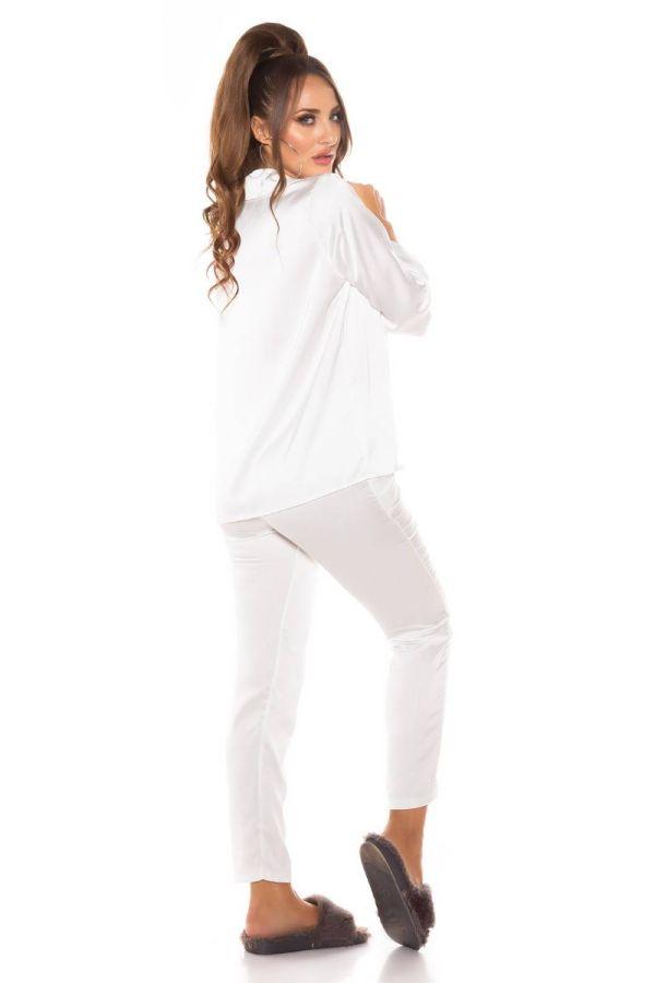 pyjamas set satin white.