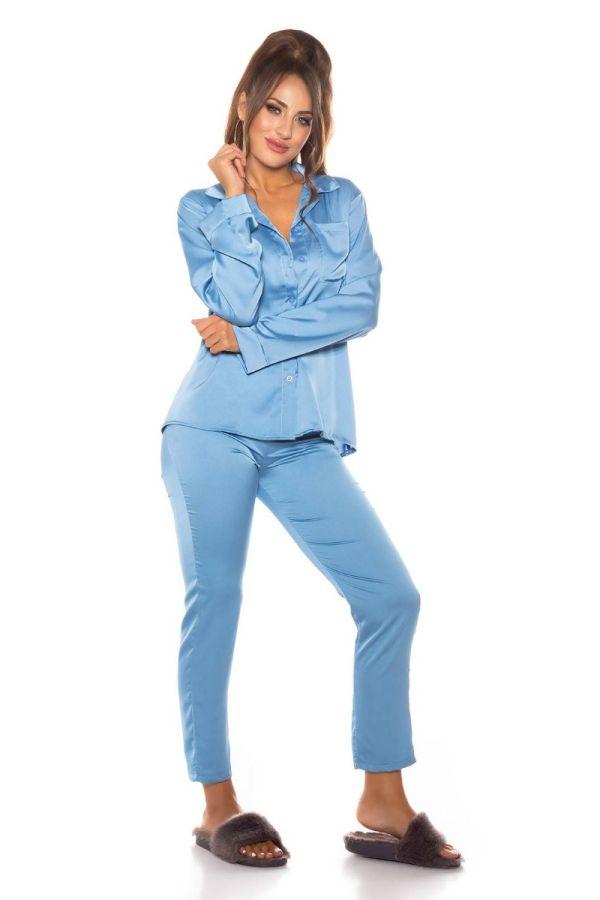 pyjamas set satin blue.