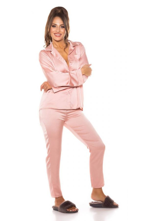 pyjamas set satin pink.