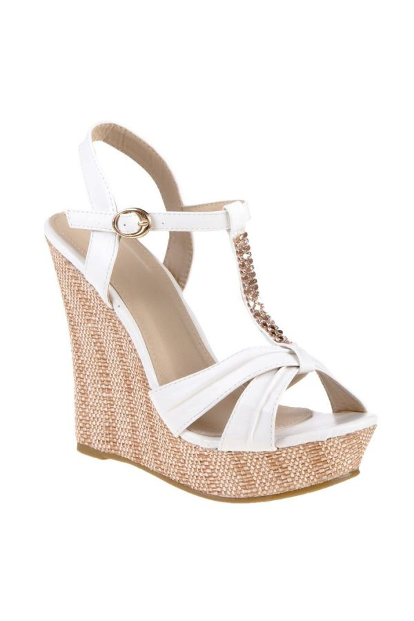 SANDAL PLATFORM STRASS DECORATION WHITE SW2006