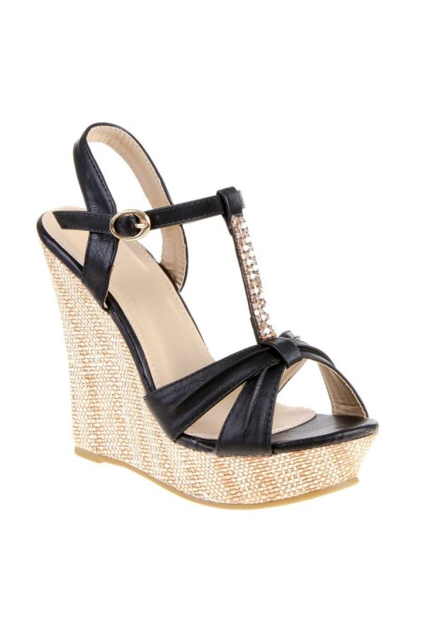 SANDAL PLATFORM STRASS DECORATION BLACK SW2006