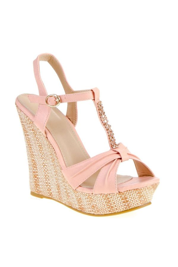 SANDAL PLATFORM STRASS DECORATION PINK SW2006