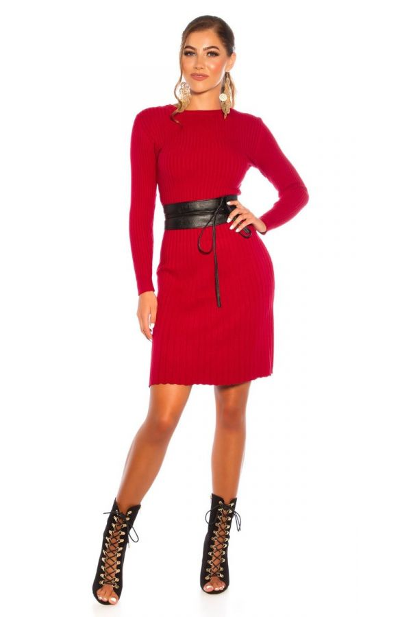 DRESS KNITTED A LINE RED ISDL18281