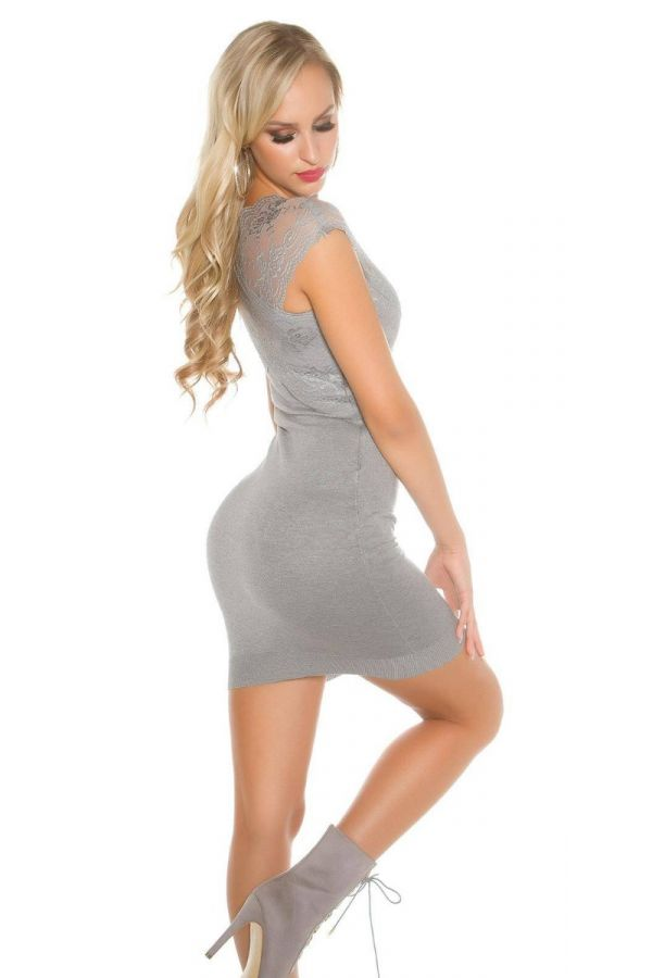 Dress Knitted Short Sleeves Crossed Lace Grey ISDP890424