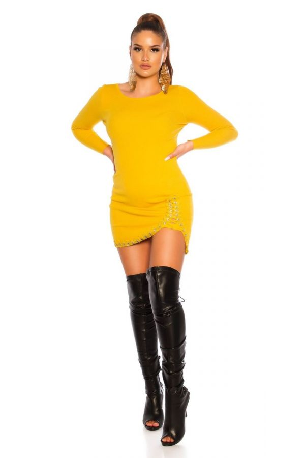 DRESS KNITTED SEXY YELLOW ISDC19082