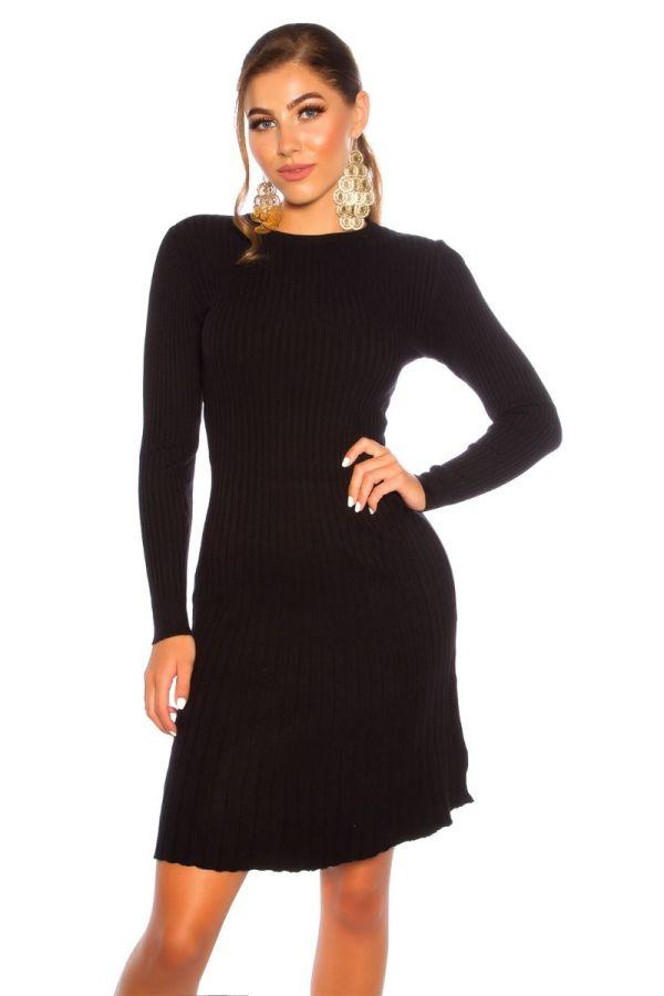 φόρεμα πλεκτό α γραμμή μαύρο.