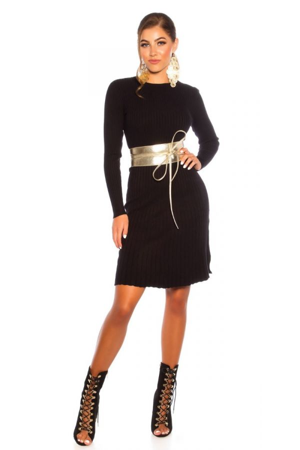 DRESS KNITTED A LINE BLACK ISDL18281