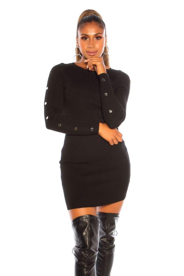 φόρεμα πλεκτό διακόσμηση μαύρο.