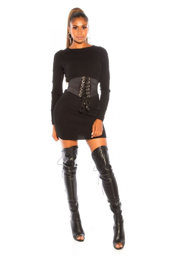DRESS KNITTED DECORATION BLACK ISDM981918