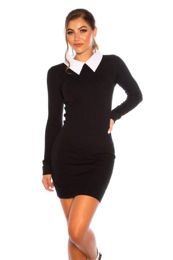φόρεμα πλεκτό γιακάς πουκαμίσου μαύρο.