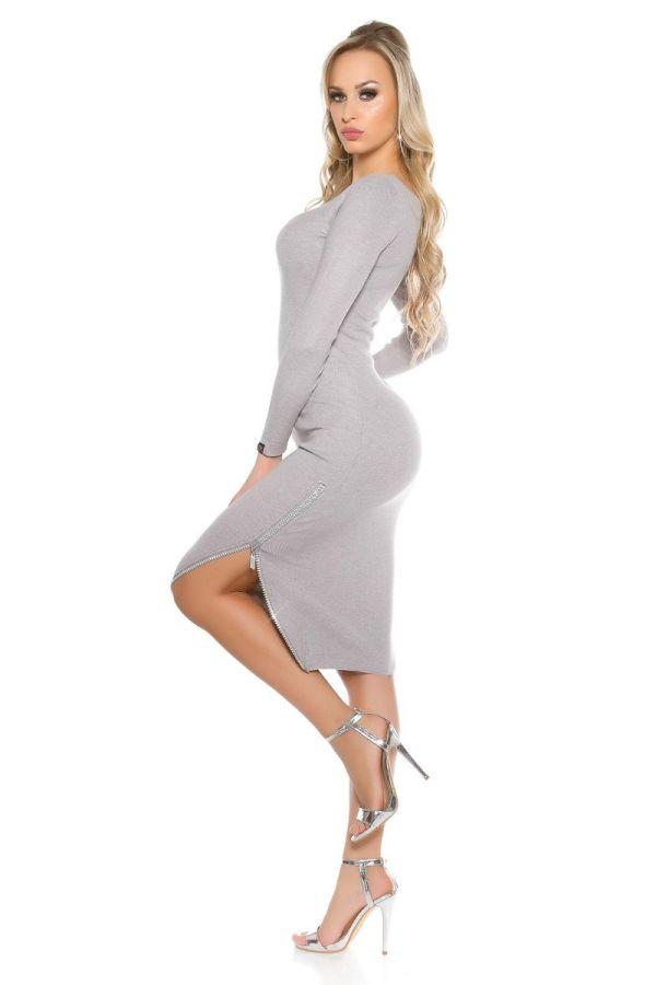 Dress Midi Knitted Zip Strass Grey ISDP89115