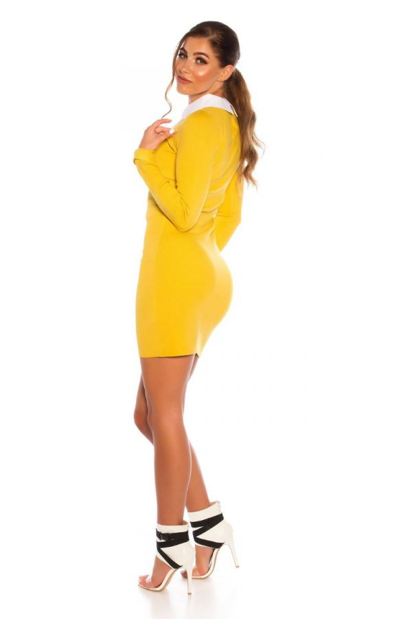 φόρεμα πλεκτό γιακάς πουκαμίσου μουσταρδί.