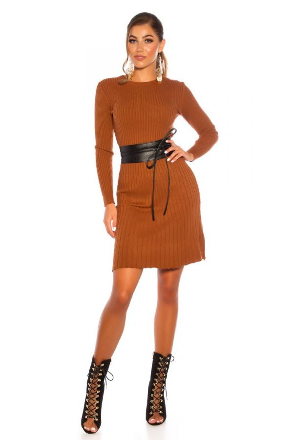 DRESS KNITTED A LINE BRONZE ISDL18281