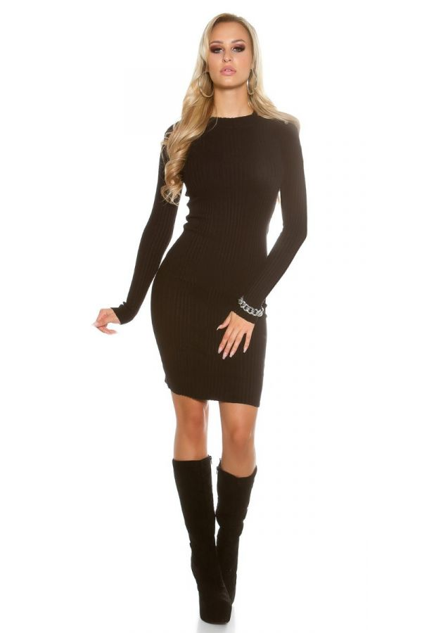 Dress Knitted All Day Black ISDF892834