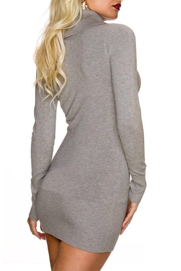 Dress Knitted Mini Stones Zip Beige Brown TQ1624744
