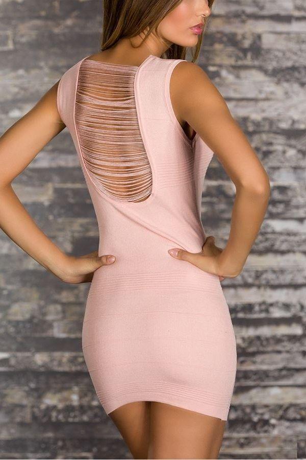 πλεκτό φόρεμα εγκοπές ροζ.