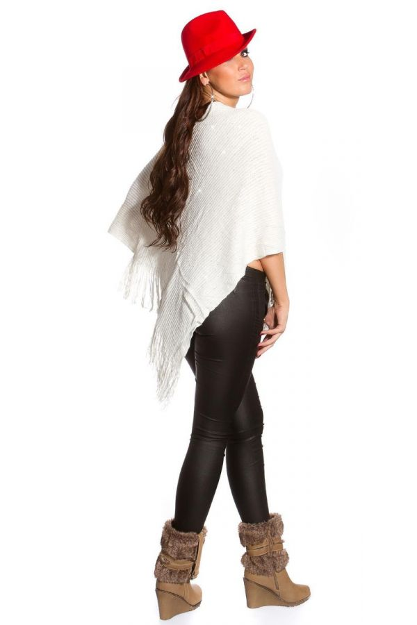 CAPE PONCHO FRINGES WHITE ISD009998