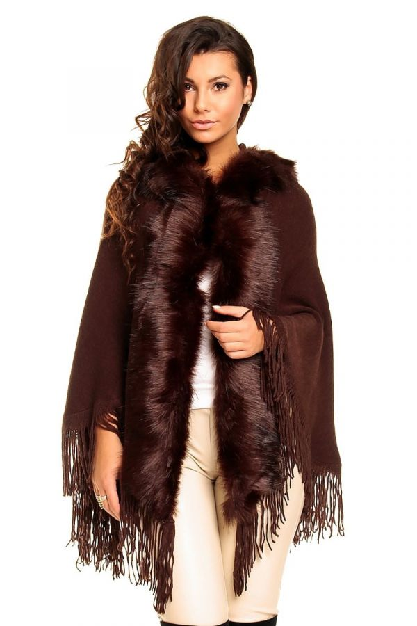 poncho knitted hood fur brown.
