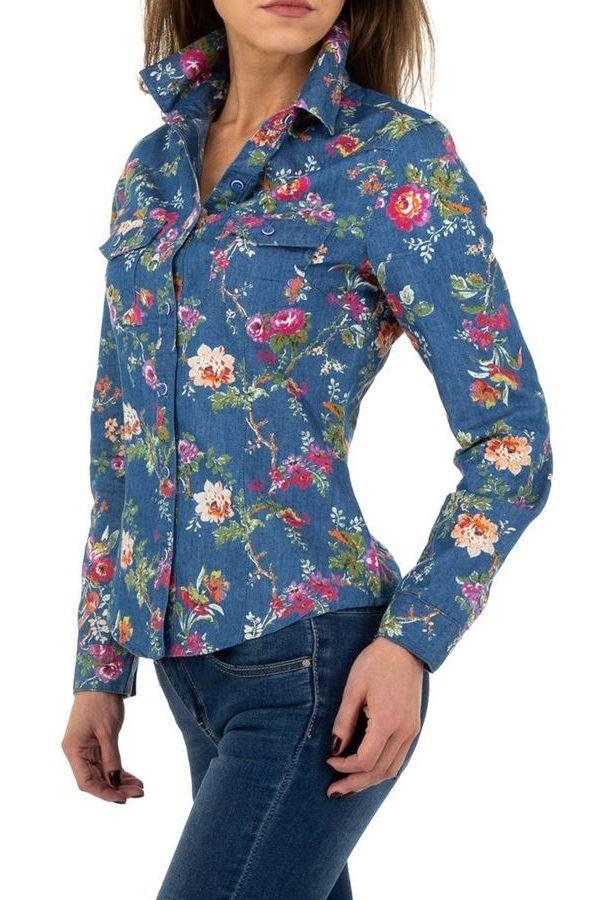 πουκάμισο τζιν μακριά μανίκια floral μπλε.