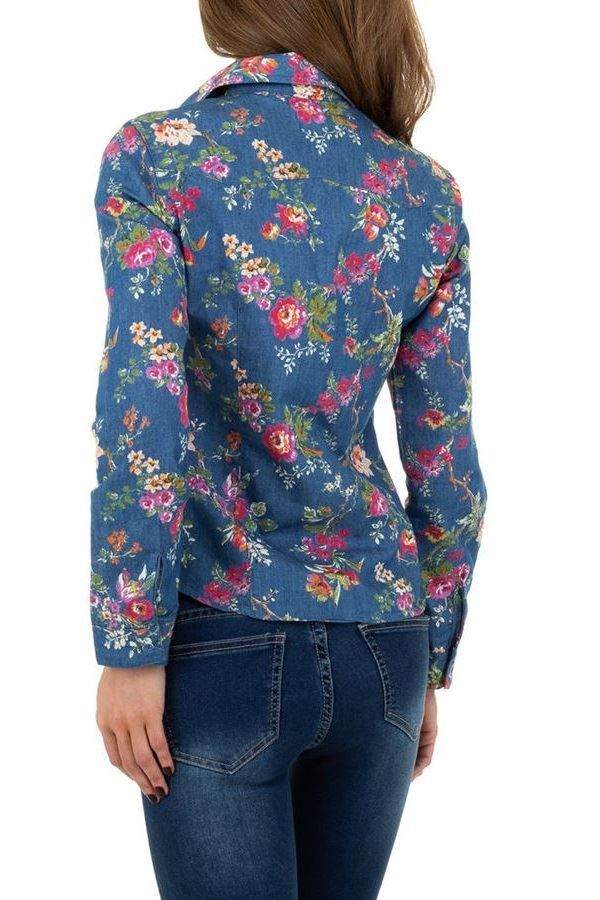 SHIRT JEAN LONG SLEEVES FLORAL BLUE FSWA107621