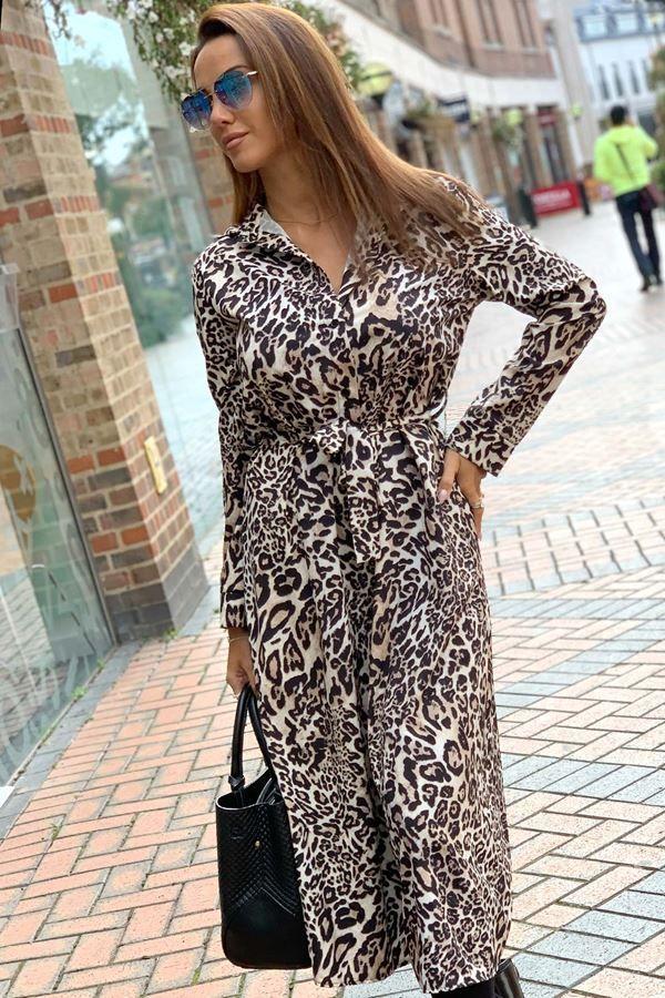πουκάμισο μακρύ φόρεμα λεοπαρ.