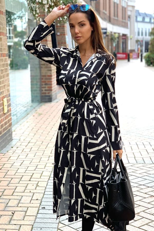 SHIRT LONG DRESS BLACK WHITE CAT20WSTEL