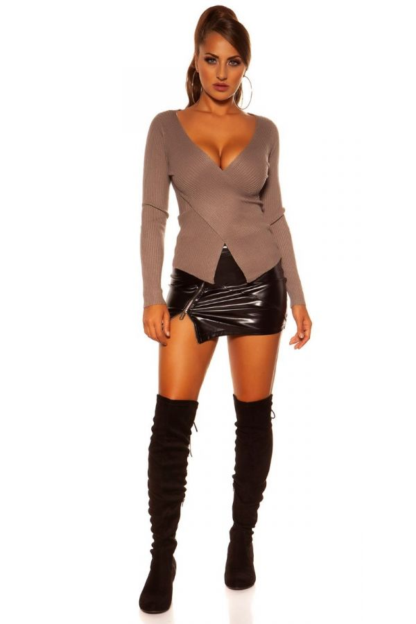 PULLOVER KNITTED ASYMMETRIC CAPPUCCINO ISDN15371