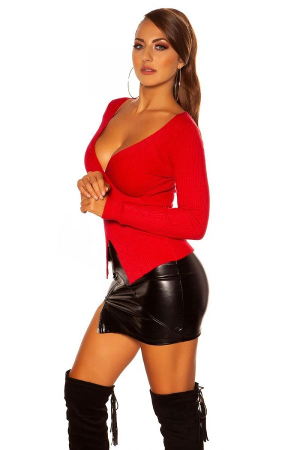 PULLOVER KNITTED ASYMMETRIC RED ISDN15371